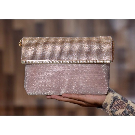 Stylish and unique cross body fancy clutch with long chain