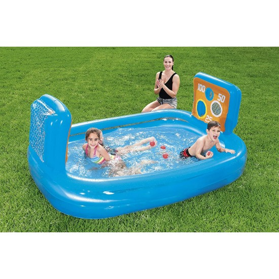 Bestway 54170 Inflatable Kiddie Paddling Pool With Goals And Targets 237 x 152 x 94 cm